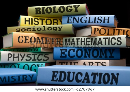 school books on a stack educational textbooks for high school, college or university with text, learning and education leads to knowledge, college books university books high school books study books - stock photo