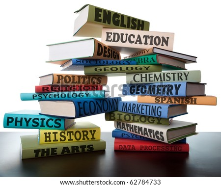 school books on a stack educational textbooks with text education leads to knowledge study books for college high school or university learning leads to wisdom - stock photo