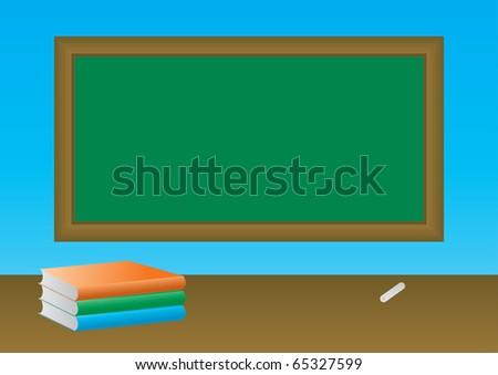School books on the blackboard - stock photo