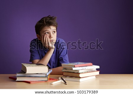 School Boy Dreaming Looking Away - stock photo