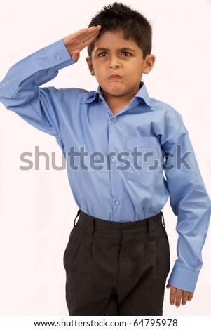 school boy gives salute isolated on white background - stock photo