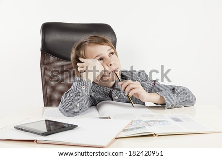 school boy hate learning on white backgroung - stock photo