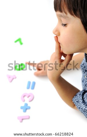 school boy is thinking - stock photo