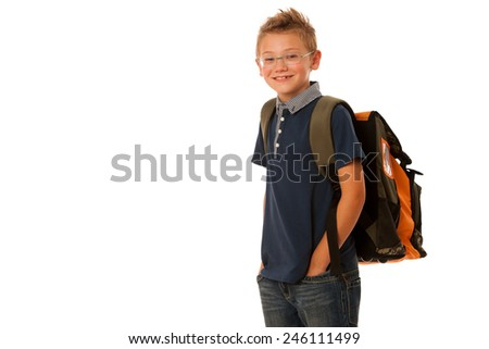 school boy isolated over white background - stock photo