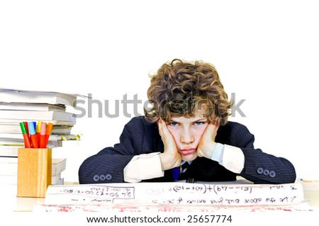 school boy looking fed up - stock photo