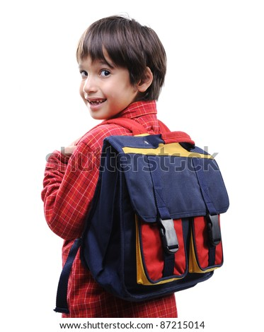 School boy with backpack - stock photo