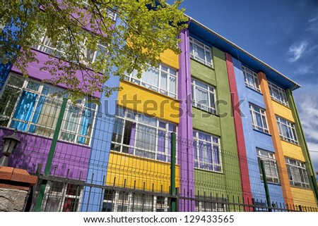 School building at springtime in the Uskudar area of Istanbul, Turkey. - stock photo