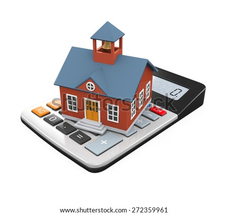 School Building Icon and Calculator - stock photo