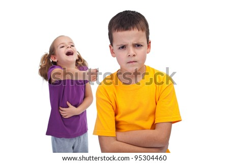 School bully and mockery concept with laughing girl and upset boy - stock photo