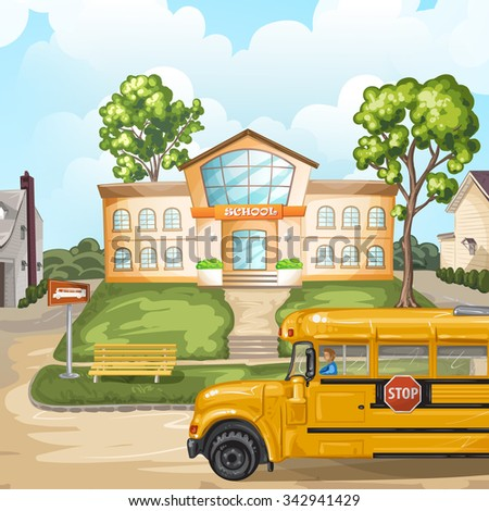 School bus and school building - stock photo