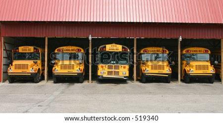 School bus garage. - stock photo