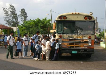 School bus in San Ignazio, Belize, Central America - stock photo