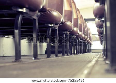 school bus interior - stock photo