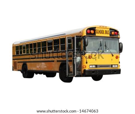 School bus isolated on white - stock photo
