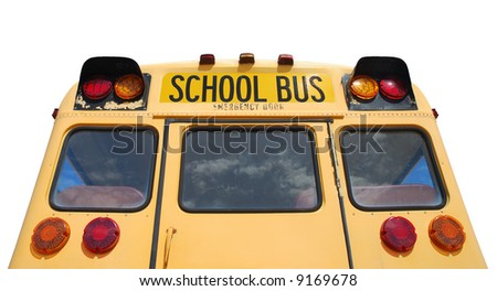 School bus isolated over white background - stock photo
