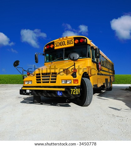 School Bus on a sunny day - detailed front of a school bus - stock photo