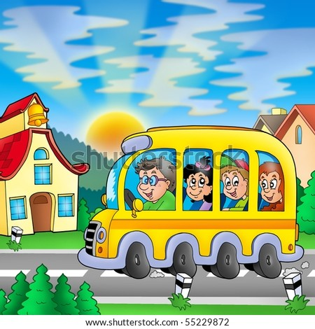 School bus on road - color illustration. - stock photo