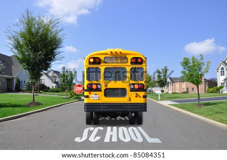 School Bus on Suburban Street with School Crossing Sign Painted on Street - stock photo