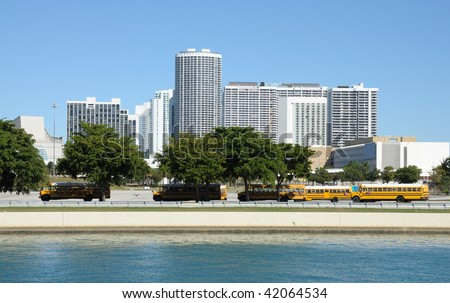 School bus parking in the city. Miami Florida, USA - stock photo