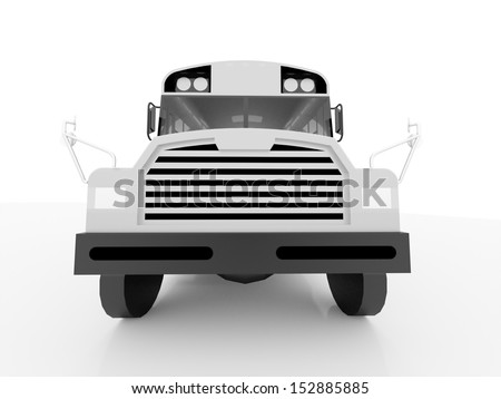 School bus rendered black and white - stock photo