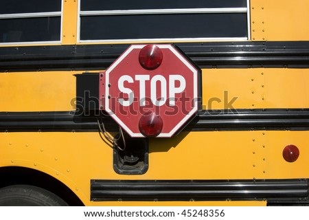 School bus stop sign - stock photo
