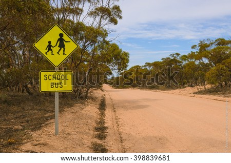 School bus stop warning road sign Australian rural outback - stock photo