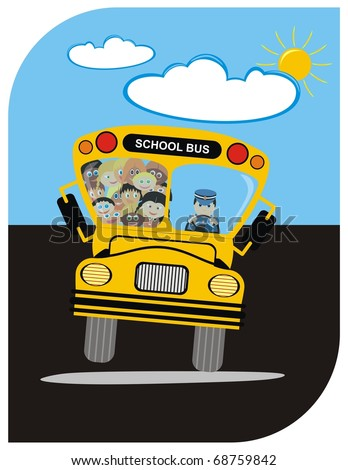 School Bus with Driver & Kindergarten Happy Students Boys & Girls - going on a Journey in Summer - Sunny Weather with few Clouds - Funny Cartoon Character - Active Kids - stock photo