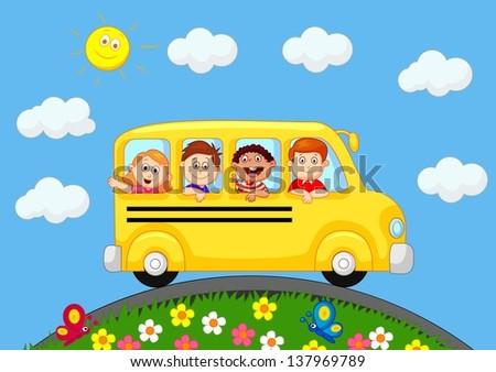 School Bus With Happy Children - stock photo