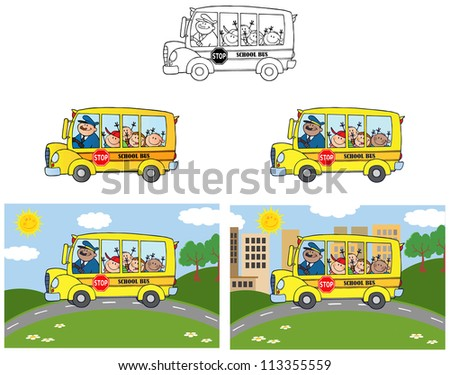 School Bus With Happy Children.Raster Collection - stock photo
