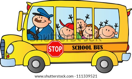 School Bus With Happy Children . Raster Illustration.Vector version also available in portfolio. - stock photo