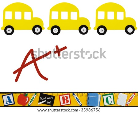School buses and ruler isolated on a white background, School background - stock photo
