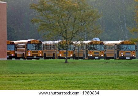 School Buses at School - stock photo