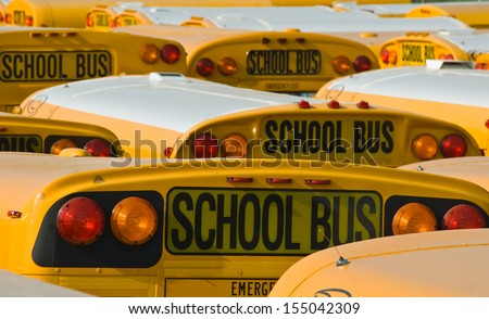 School Buses in a Parking Lot - stock photo