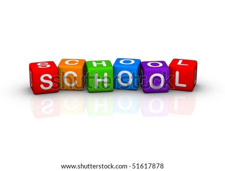 school (buzzword colorful cubes series) - stock photo