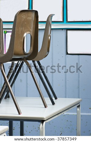 School chairs up on the desks at the end of the school day