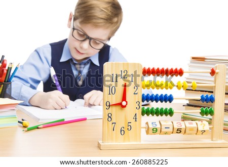 School Child Pupil Education, Clock Abacus, Students Boy in Glasses Counting Math Lesson, Kid Writing Exercise Book over White Background - stock photo