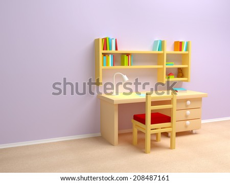 School child room. Desk with lamp and book shelves. - stock photo