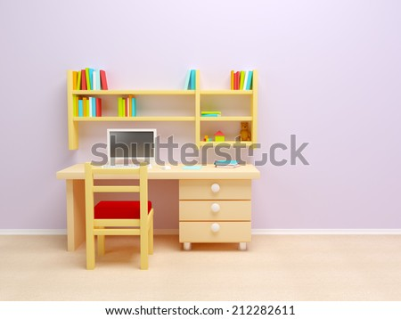 School child room. Desk with PC and book shelves. - stock photo
