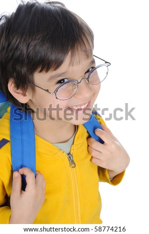 school children, cute boy with bag on back and glasses, smiling - stock photo