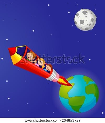 School Children Enjoying Pencil Rocket Ride - stock photo
