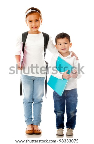 School children holding notebooks - isolated over a white background - stock photo