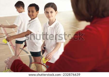 School Children in Physical Education Class - stock photo