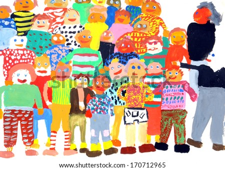 School class in a multi-colored childrens drawings - stock photo