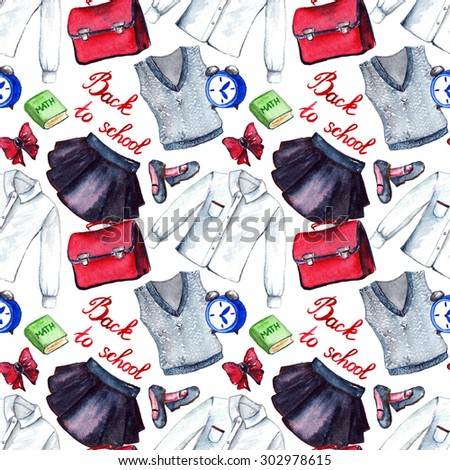 School clothes pupil uniform form fashion look seamless pattern - stock photo