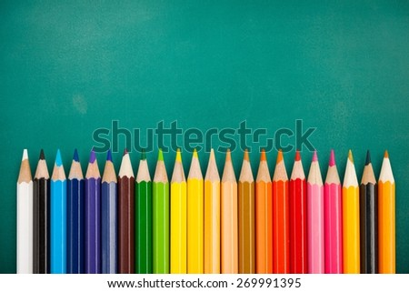 School. Colour Rainbow pencils isolated on white background. Back to school - stock photo