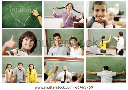 School concept, children and teacher, success in classroom - collage. Education process. Loving learning. - stock photo