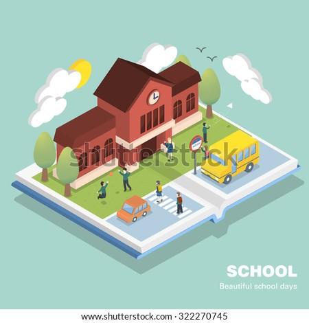school concept in 3d isometric flat design - stock photo