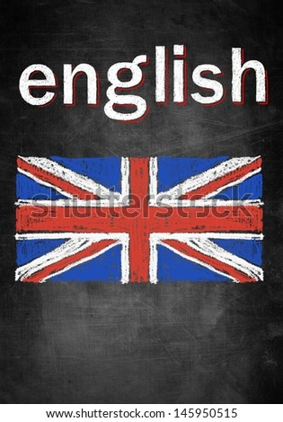 School concept of learning english language, chalk board with British flag United Kingdom - stock photo