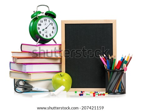 School concept - school accessories isolated on white background - stock photo