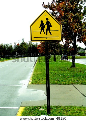 School Cross Walk Sign - stock photo